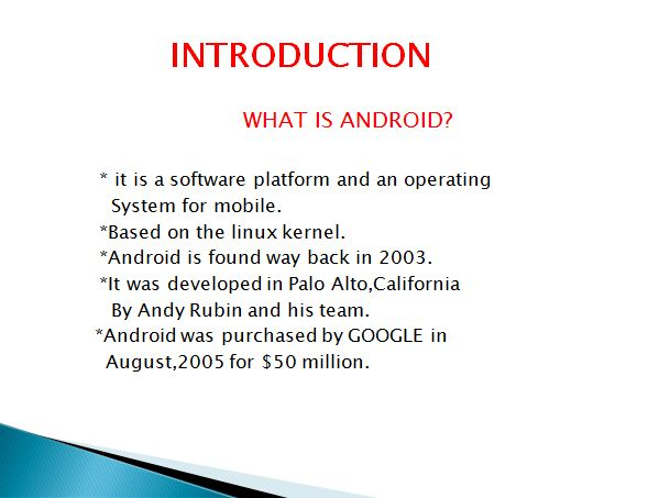 ANDROID PPT Presentation for Diploma and Engineering Project